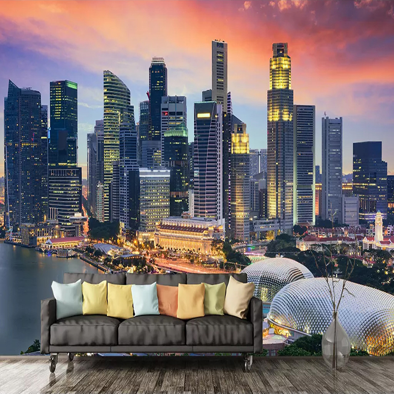 Custom Photo Wallpapers 3D Singapore City Night View Whole