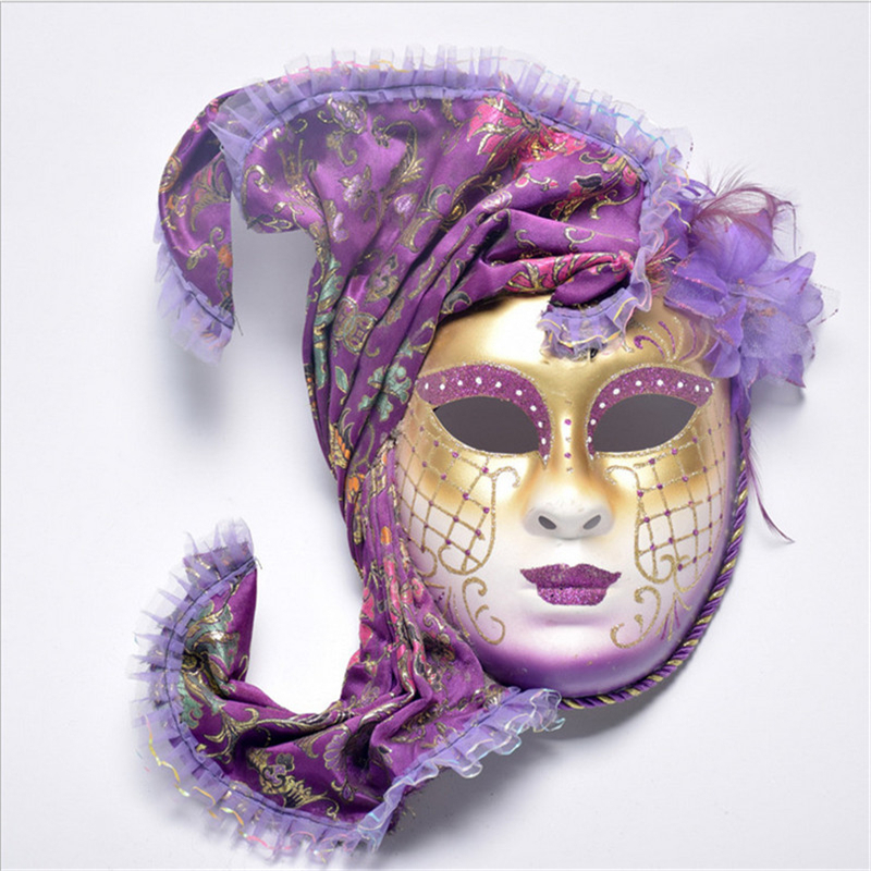 Halloween Cosplay Masquerade Mask Venice Antique Painted With Flower Shawl Full Face Party Performance Female Mask
