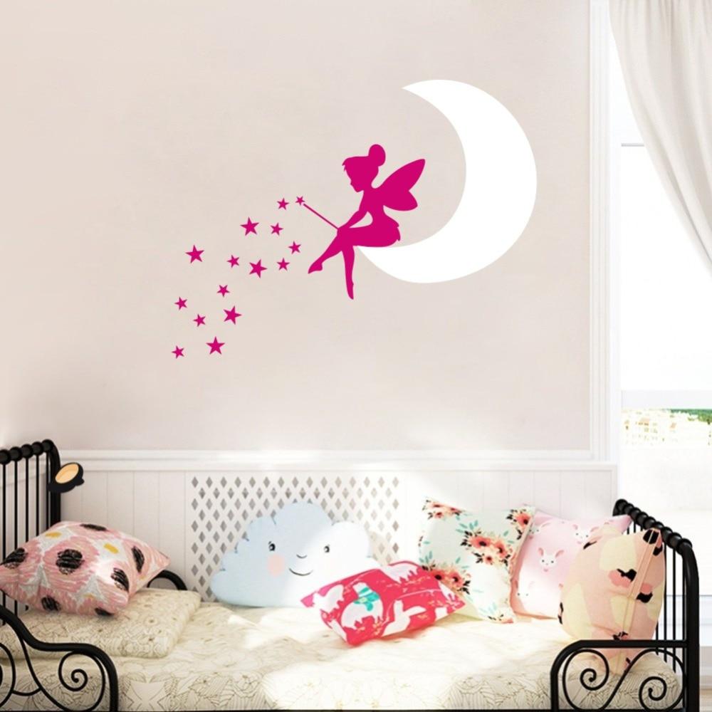 Fairy Moon DIY Stars Cartoon vinilo arte etiqueta de la pared para - Decoración del hogar