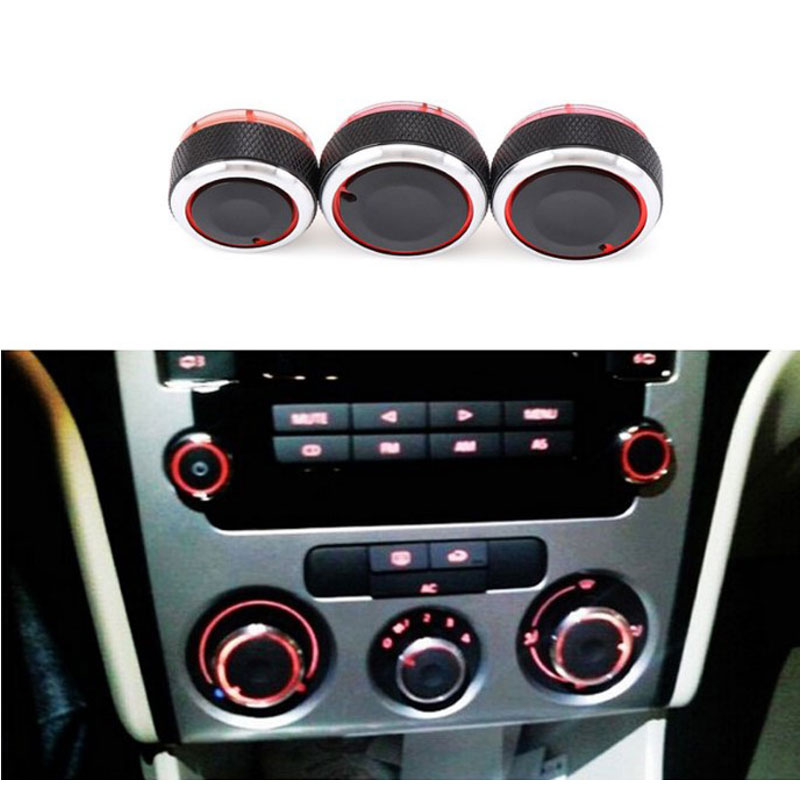 3pcs/set Aluminum Alloy Air Conditioning Knob AC Knob Heat Control Switch Button Knob For VW Polo 2002-2013 Car Styling