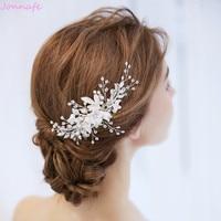 Jonnafe New Design Bridal Flower Headpiece Hair Comb Pearls Wedding Prom Hair Jewelry Accessories Handmade Women