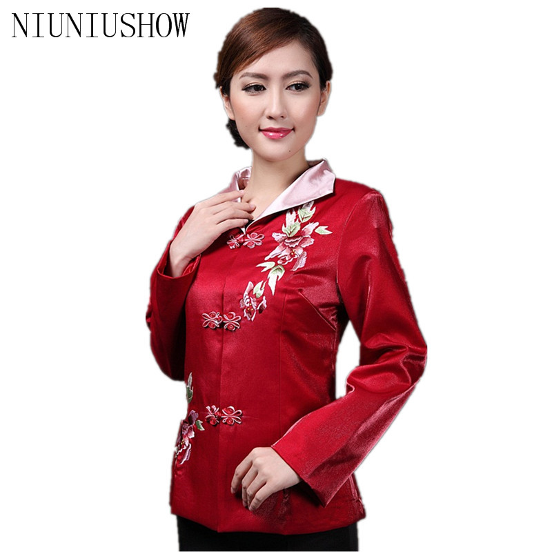 Discount Red Chinese Women's Satin Jacket Classic Style V Neck Tang Suit Peony Embroidery Single Breasted Coat Size S TO 3XL