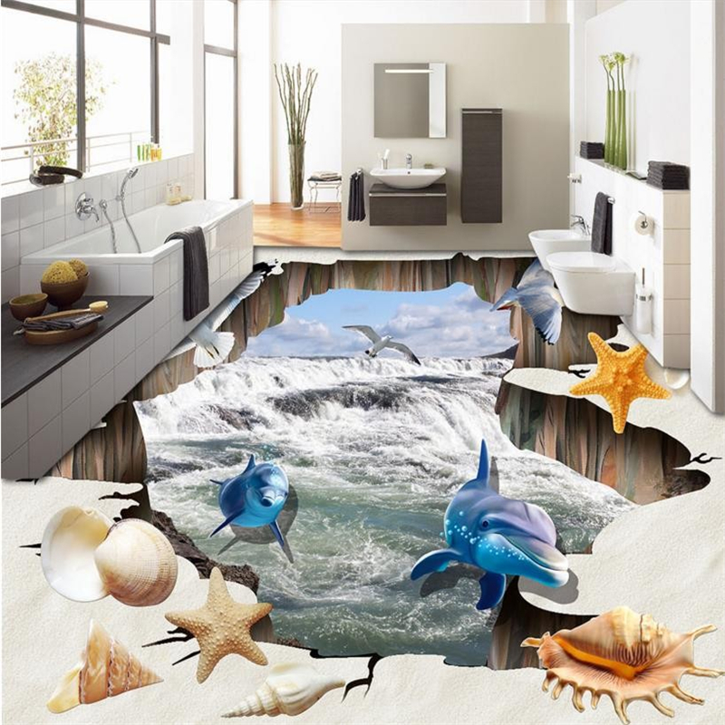 beibehang 3d flooring wall mural wall paper pvc self adhesive wallpaper custom Falls Shell Beach 3d floor tiles for bathrooms  beibehang shells pigeons papel de parede 3d flooring wallpaper for walls 3 d pvc self adhesive wallpaper floor tiles wall paper