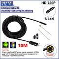 10 pcs Preto 2.0MP HD 720 P 2 em 1 Android Endoscópio 8mm lente 6 LEVOU À Prova D' Água Borescope Câmera de Inspeção com 10 m de Cabo USB
