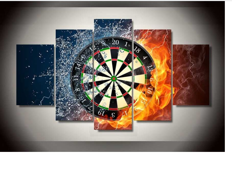 new 2016 modular home decoration 5 pcs dart target pictures canvas oil painting on wall art