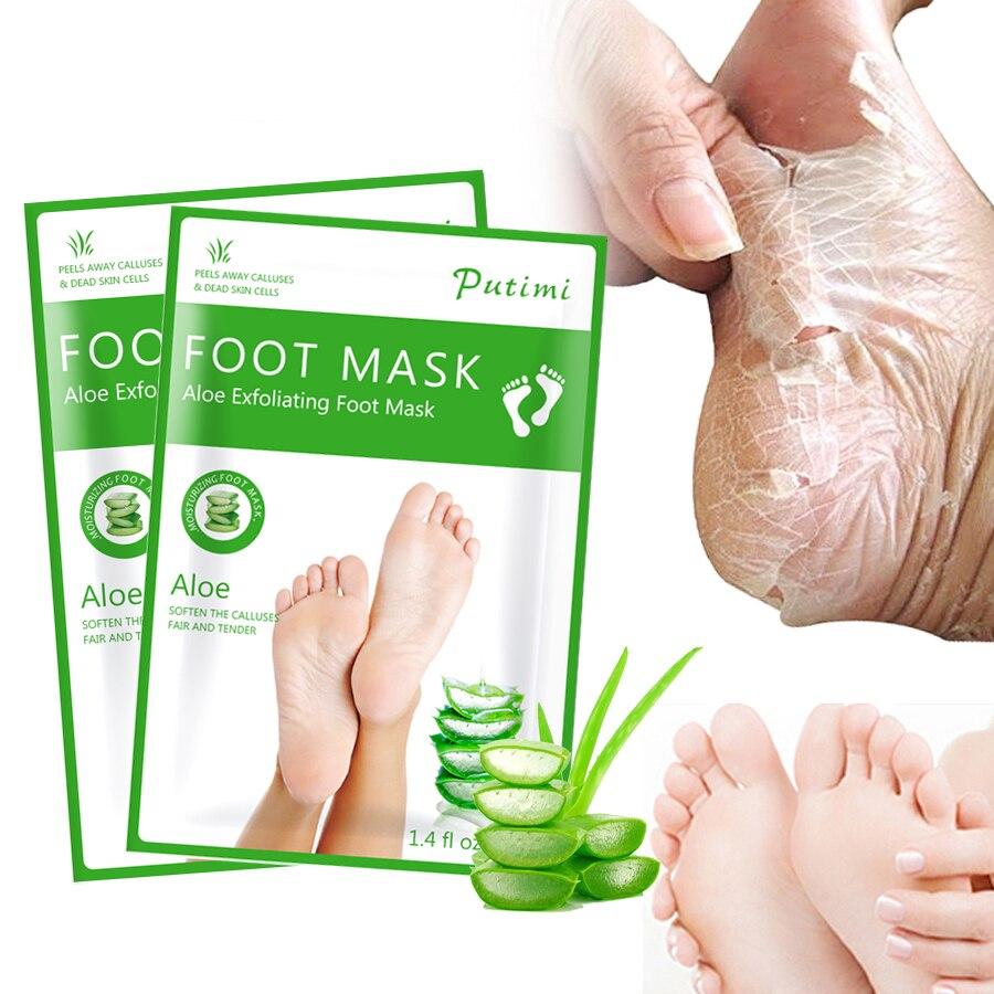 Peeling Fuß Maske Aloe Fuß Maske Für Beine Feuchtigkeitsspendende Maske Pediküre Socken Entfernen Abgestorbene Haut Heels Peeling Nagelhaut 4 Pcs = 2 Pack Hautpflege