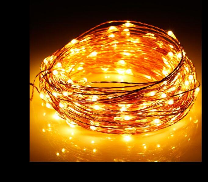 10M 33ft 100led 3AA battery powered outdoor copper wire string lights for christmas festival wedding party decoration warm white