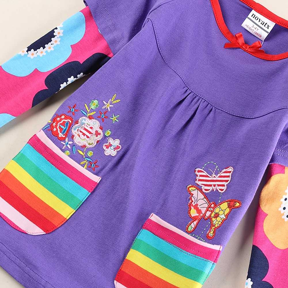 JUXINSU Kızlar pamuklu uzun kollutişört T-shirt Çiçek Kelebek Nakış Gökkuşağı cep Sonbahar Kış Kız Rahat gömlek 1-8 Yıl