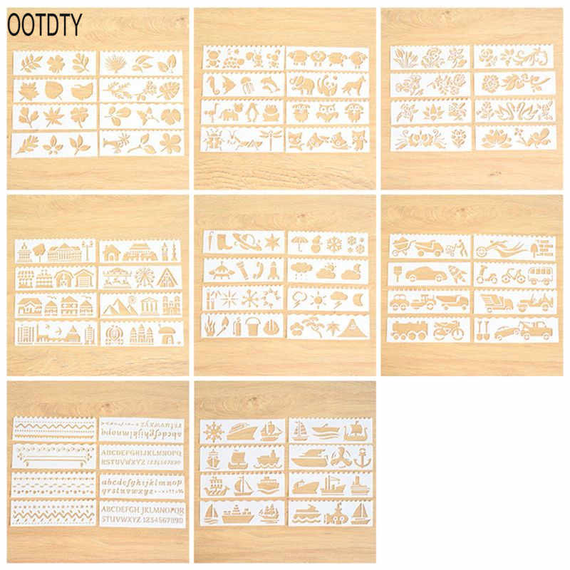 8PCS Creative DIY Layering Stencils Painting Drawing Templates Scrapbooking Stamp Album Decor Supplies