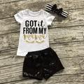 Muchachas de la manera Ropa de verano de los bebés Ropa Fijada Precioso carta de Pestañas Chica tops + Pants + Headband Niñas Traje niños