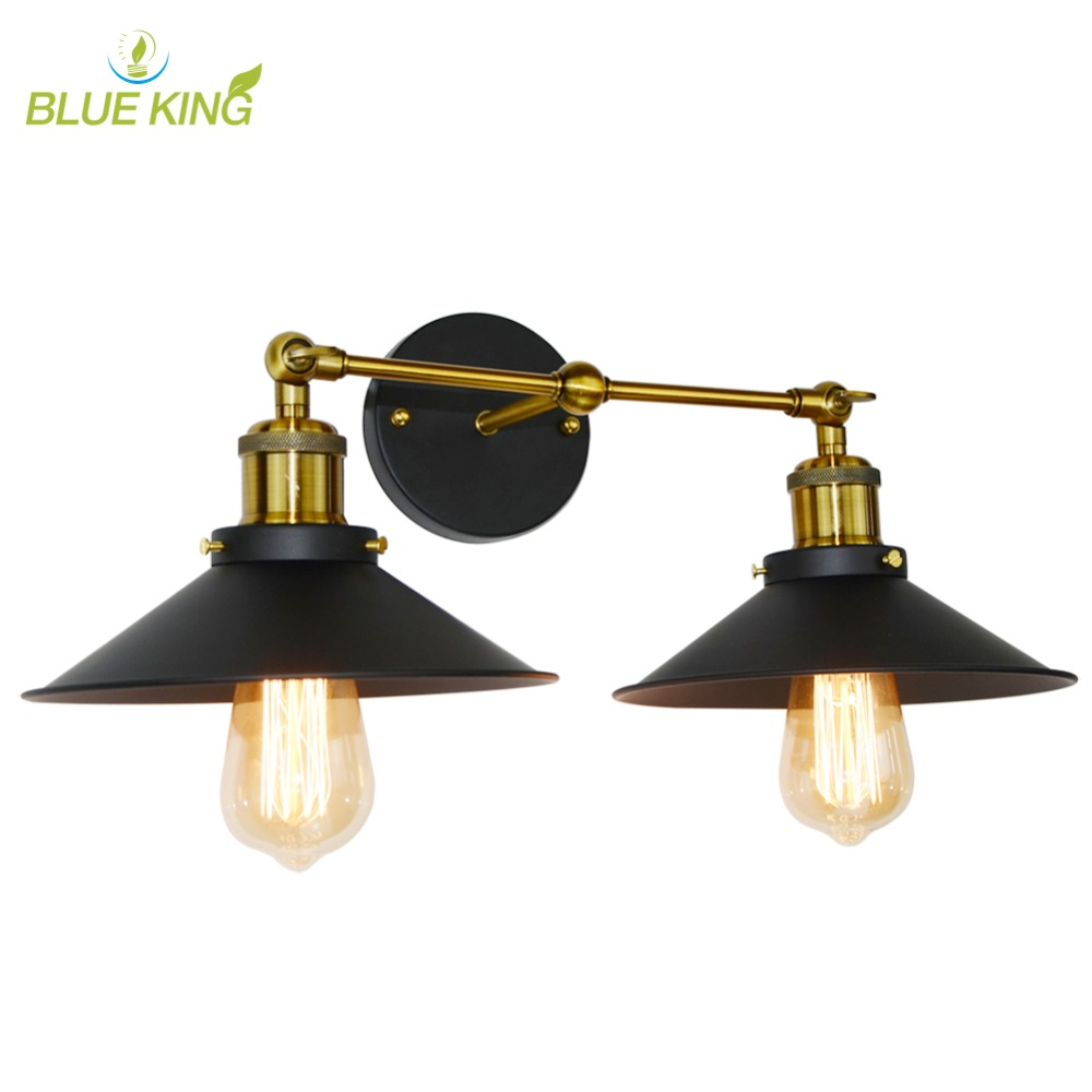 Vintage Loft Metal Double Heads Wall Light Retro Wall Lamp Country Style Lighting Fixtures for Home Decor vintage loft double heads marble stone shaded