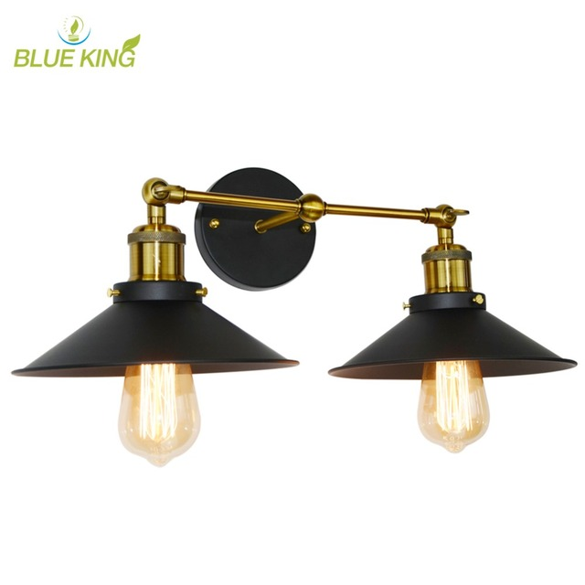 Us 35 91 55 Off Vintage Loft Metal Double Heads Wall Light Retro Lamp Country Style Lighting Fixtures For Home Decor In Lamps From Lights