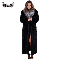 BFFUR Real Fur Coats For Women Winter Sale Mink Coat Fox Fur Collar China Covered Button Double faced Fur Slim Long Full Solid