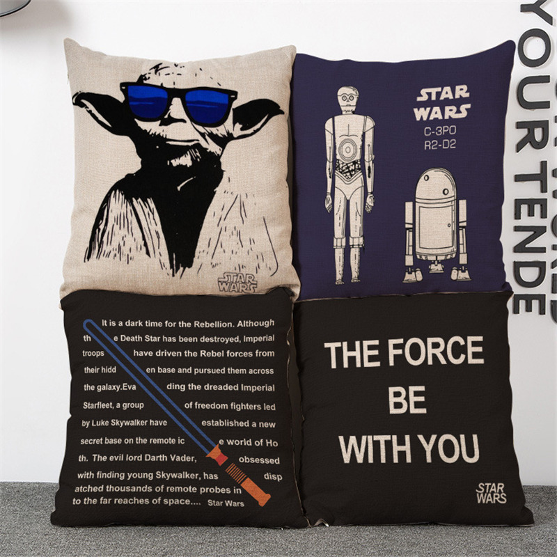 Lightsaber wars cartoon master throw cushion cover pillow case office seat Home club coffee shop Decorative for children gift
