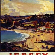 Póster de Turismo de Ferrocarril Británico Vintage, Jersey de playa, pinturas clásicas en lienzo, pósteres de pared, pegatinas para decoración del hogar, regalo