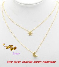 Customized Two Mini Pendants Necklace Startlet Moon Two layer Necklace Classic Women Jewelry Wholesale Christmas Gift