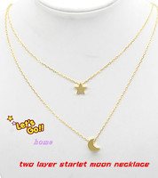 5b57761eff91 Customized Two Mini Pendants Necklace Startlet Moon Two Layer Necklace  Classic Women Jewelry Wholesale Christmas Gift
