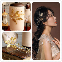 Continental Retro Baroque Crown Tiara Headband Bridal Hair Accessories Gold Jewelry Studio Leaves Women Headbands Vintage