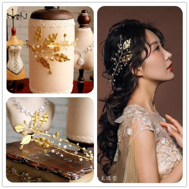 Continental retro baroque crown tiara headband bridal hair accessories gold  jewelry studio leaves women headbands vintage b35c692621d