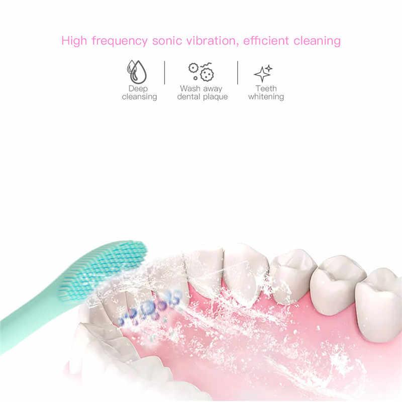 Elektryczna soniczna szczoteczka do zębów silikonowe wodoodporne dzieci szczoteczka do zębów USB szczoteczka do zębów z akumulatorem dla dzieci do pielęgnacji jamy ustnej + 2 sztuk końcówki do szczoteczek