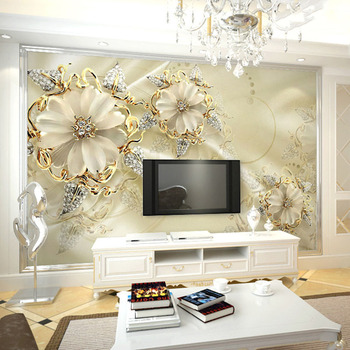 European Style Jewelry Flower TV Background Wall Custom Mural Wallpaper Home Improvement Bedroom Wall Paper Wallcoverings 4