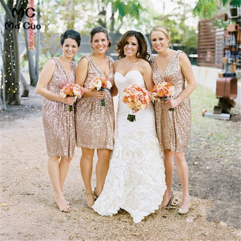 Elegant 2018 V-Neck Short Sequins   bridesmaid     dresses   Wedding party vestido de festa de wedding part gown   bridesmaid     dress