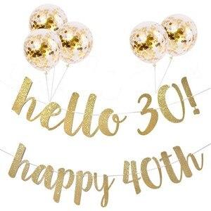 """30 40 50 60 лет День Рождения Декор Золотая блестящая бумага баннер гирлянда воздушный шар """"Конфетти"""" 30th День Рождения вечерние украшения для взрослых"""