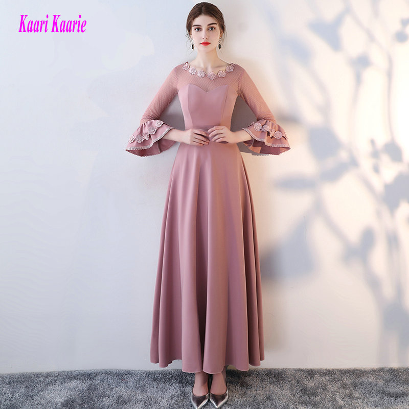 Brilliant Hot Pink Formal   Evening     Dresses   2019 New Sexy Party   Evening   Gowns O-Neck Lace Appliques Elastic Satin Prom   Dress   Long