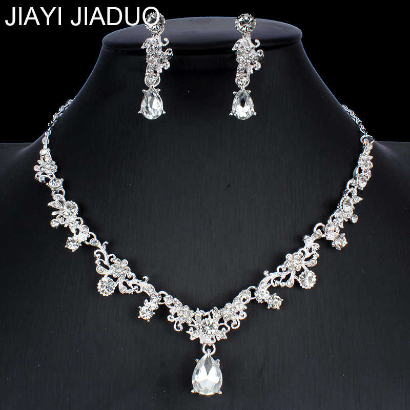jiayijiaduo Women's Wedding Silver Color Jewelry Set Necklace Earrings Set Crystal Jewelry Gift dropshipping  NE+EA