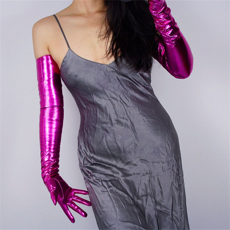 Patent Leather Long Gloves Female 60cm Extra Long High Elastic Emulation Leather PU Woman Gloves Bright Rose Red P1370 17 in Women 39 s Gloves from Apparel Accessories