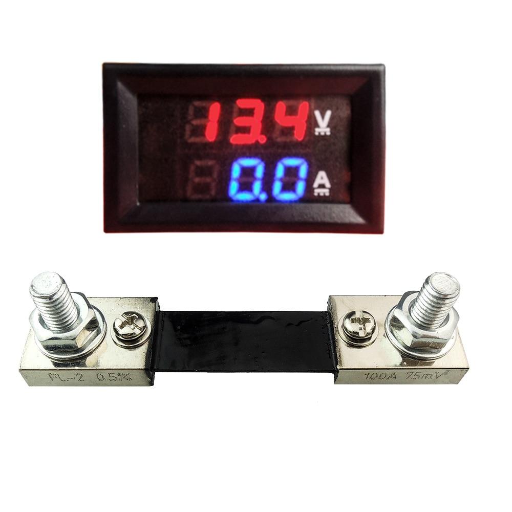 DC100V 100A Dual Digital Blue Red LED Display Current Voltmeter Ammeter Multimeter Panel Tester Volt Meter Gauge Monitor Shunt