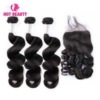 Hot Beauty Hair Loose Wave Bundles With Closure Brazilian Human Hair Weave 3 Bundles With Lace Closure Remy Hair Extension