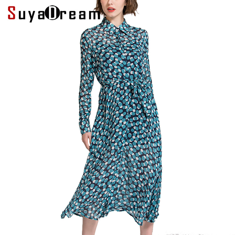 SuyaDream Women Silk Long Dress 100%Real Silk Dots Printed Long Sleeved Turn Down Collar Belted Dresses 2020 Spring New