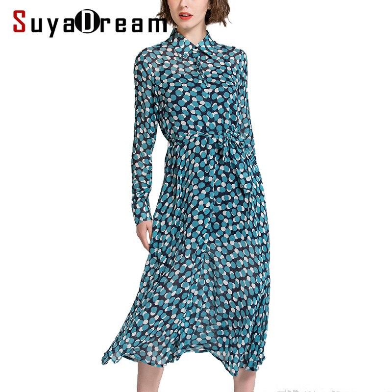 SuyaDream femmes soie longue robe 100% vraie soie points imprimé à manches longues col rabattu ceinturé robes 2020 printemps nouveau