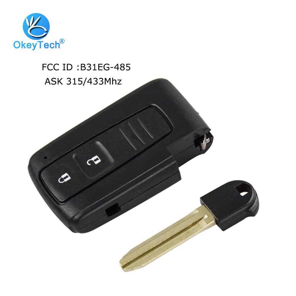 OkeyTech для Toyota Prius 2004-2009 дистанционный ключ смарт-карты ASK 315/433Mhz 2 кнопки с Toy43 неразрезанная вставка лезвие FCC: B31EG-485