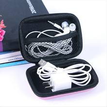 Portable Data line Earphone line Storage Bags Solid Phone Charger Headset Box with Zipper for Travel Home Organizer Supplies(China)