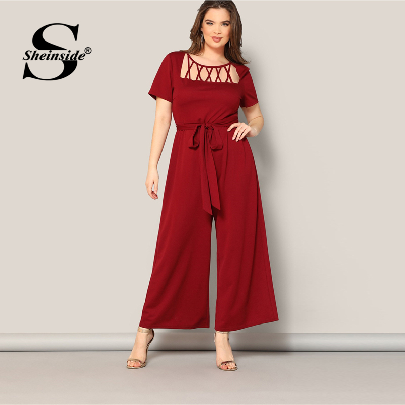 Sheinside Plus Size Elegant Hollowed Out Detail   Jumpsuit   Women 2019 Summer Casual Short Sleeve   Jumpsuits   Ladies Belted   Jumpsuit