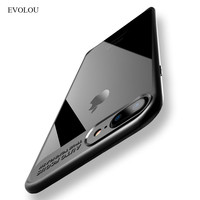 EVOLOU Full Protective Case For IPhone 7 Cover Shell TPU Acrylic Transparent Phone Case for Iphone 7 Plus 7plus Soft Back Cover