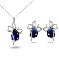 Nouveau bleu diamant ensemble de bijoux et 18 carats bijoux en or boucles d'oreilles