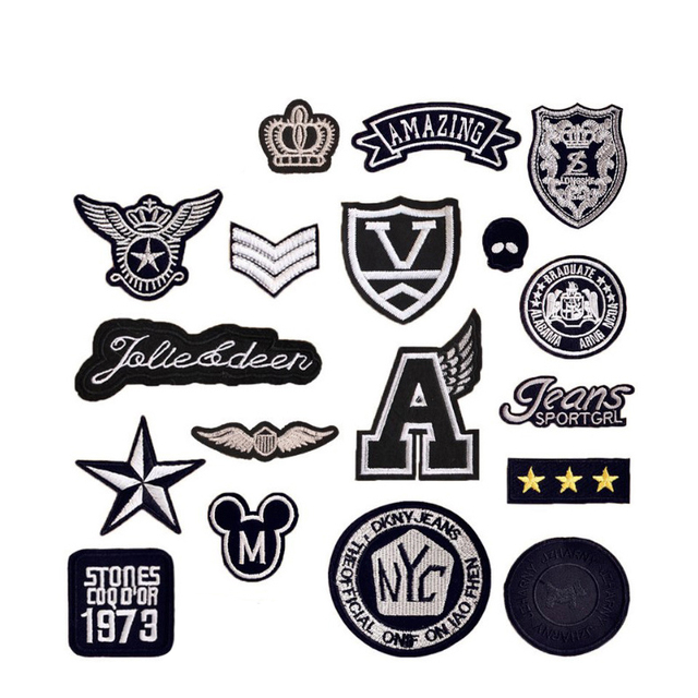 Black White Iron On Or Sew Embroidered Patches
