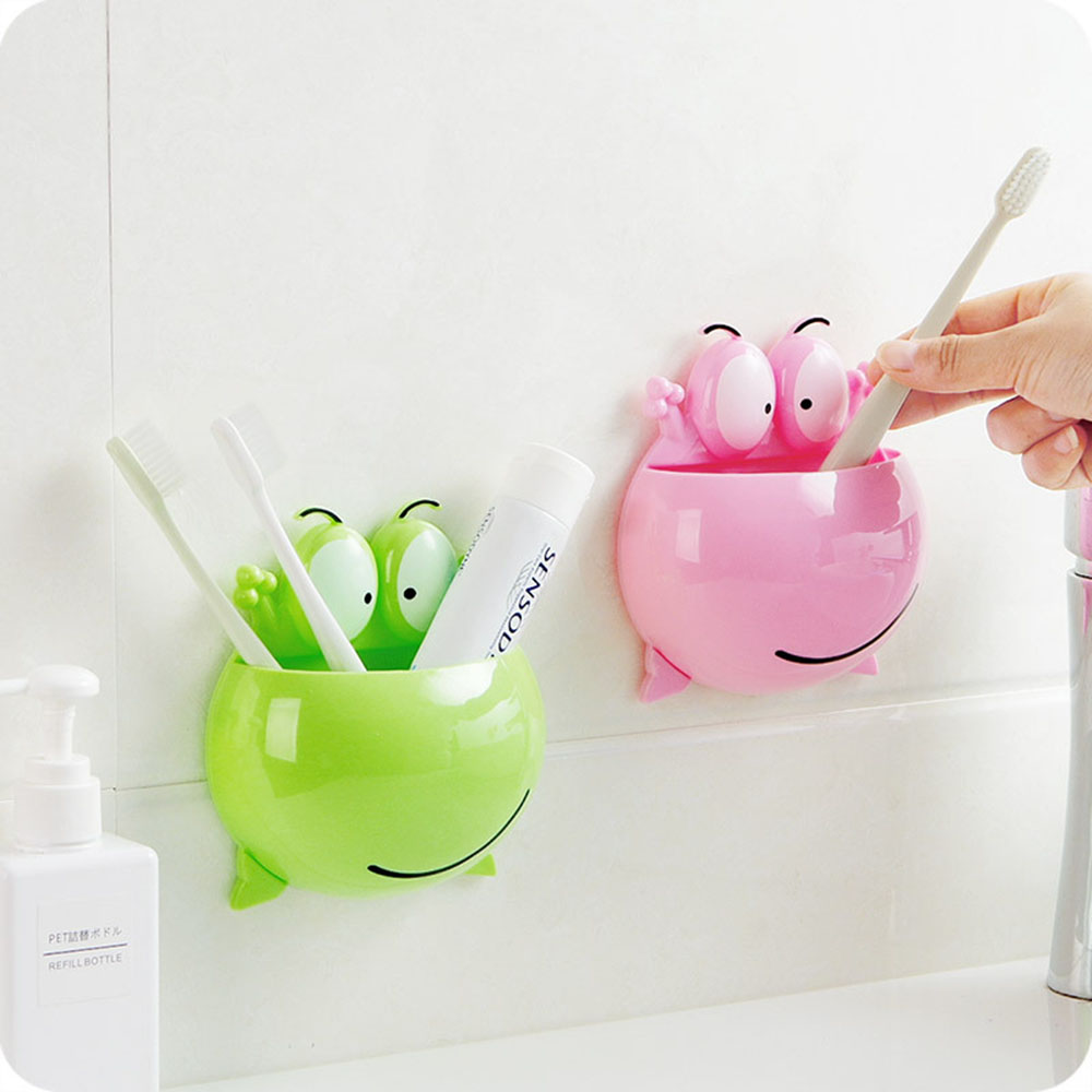 Creative Cute Cartoon Strong Powerful Suction Cup Frog Wall Toothbrush Holder Stand Toothpaste Brush Box Bathroom Products PVC image