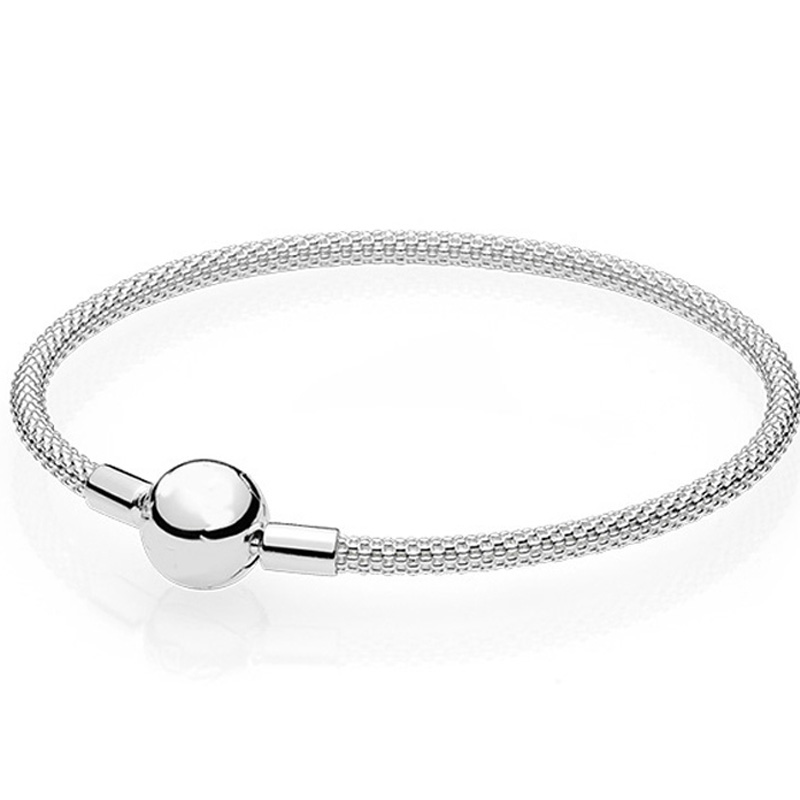 New 925 Sterling Silver Bangle Snake Chain Basic Ball Clasp Mesh Bracelet Bangle Fit Women Bead Charm DIY Europe Jewelry