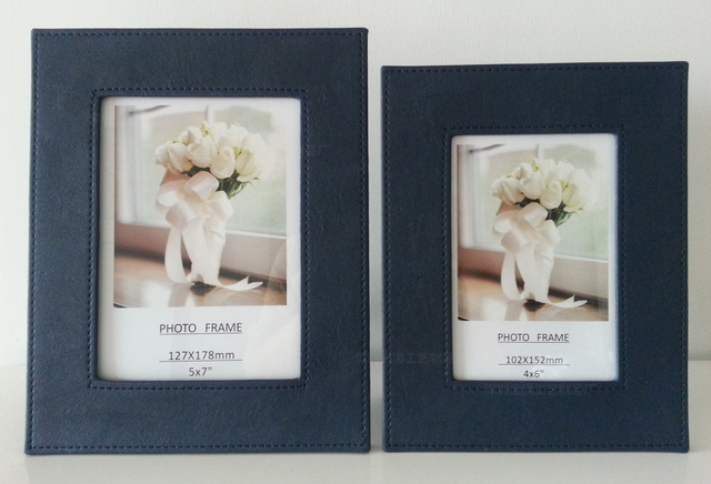Navy Blue Flat Leather Picture Frames 5 Inch 6 7 8 10 12 A4 Paper