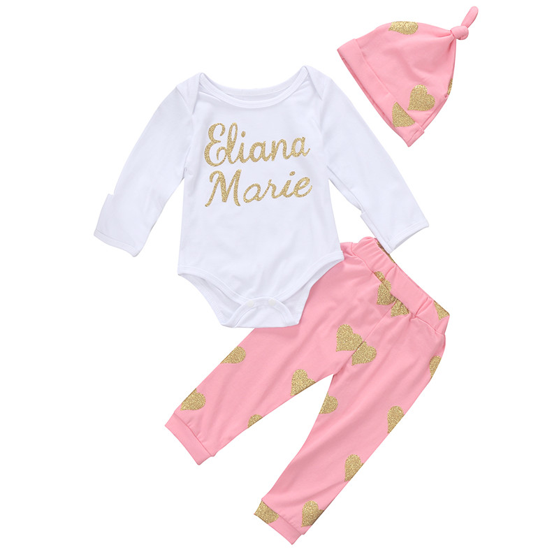 0 to 24M Newbirn Toddler Infant Baby Girls Clothes Long Sleeve Romper+Pants Leggings+Hat 3pcs Outfits Baby Clothing Set