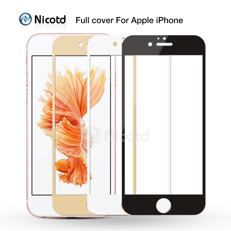 Full <font><b>Cover</b></font> Tempered Glass For <font><b>iPhone</b></font> 7 6 6S Plus 2.5D <font><b>Screen</b></font> Protector Film for <font><b>iphone</b></font> X <font><b>8</b></font> 7 Plus glass protection Black White image