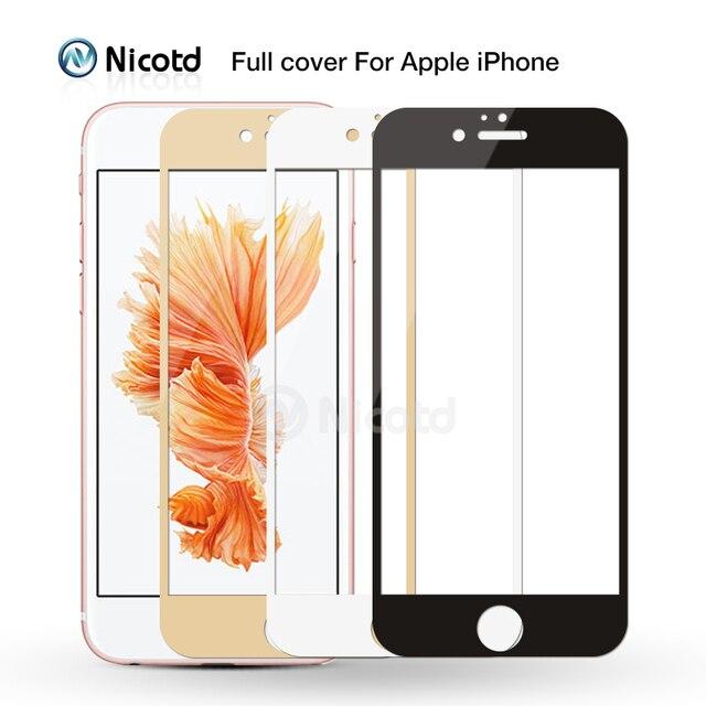 Закаленное стекло с полным покрытием для iPhone 7, 6, 6S Plus, 2.5D, защитная пленка для экрана iphone X, 8, 7 Plus, защитное стекло, черный, белый