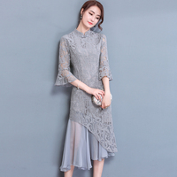 Spring New Grey Color Mandarin Collar Half Sleeve Lace And Chiffon Stitching Trumpet Dresses Summer Women