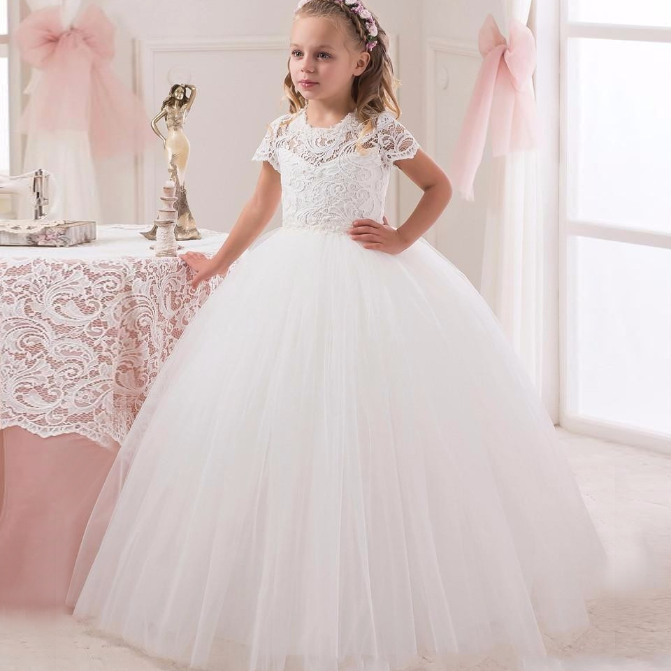 Communion Ball Gown Flower Girls Dresses For Weddings 2016 Tulle Little Kids Dresses Formal Lace Pageant Gowns Short Sleeves princess ball gown red lace flower girls dresses for weddings birthday communion kids stage performance