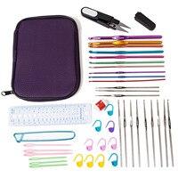 42 PCS Aluminum Oxide Crochet Hook Needles Stainless Steel Crochet Hooks Knitting Needle Set Tools With