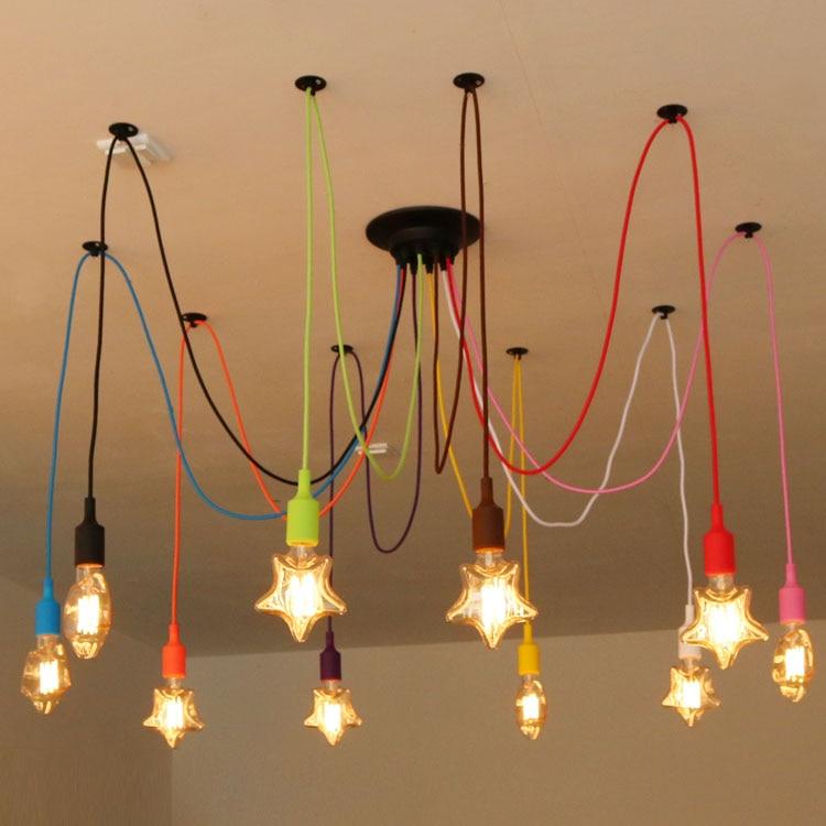 Lampes suspendues colorées en Silicone E27 support bricolage Design lampes suspendues créatives 200 cm Base de plafond de cordon